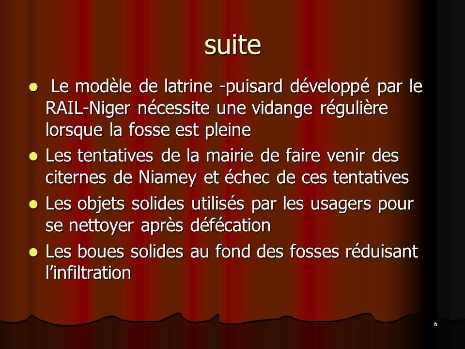 suite Le modèle de latrine -puisard développé par le RAIL-Niger nécessite une vidange régulière lorsque la fosse est pleine.
