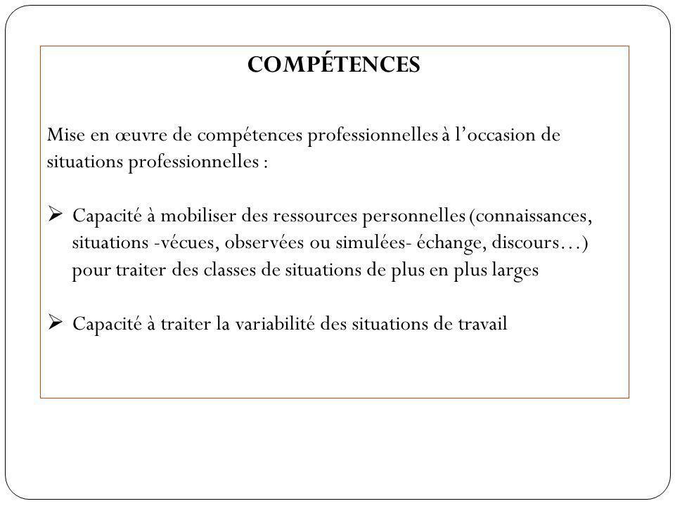 COMPÉTENCES Mise en œuvre de compétences professionnelles à l'occasion de situations professionnelles :