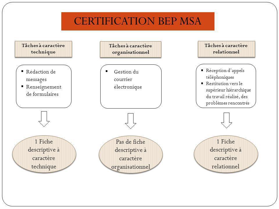 CERTIFICATION BEP MSA 1 Fiche descriptive à caractère technique