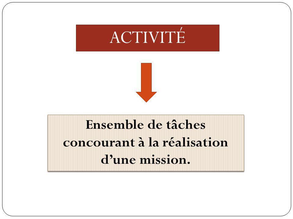 Ensemble de tâches concourant à la réalisation d'une mission.