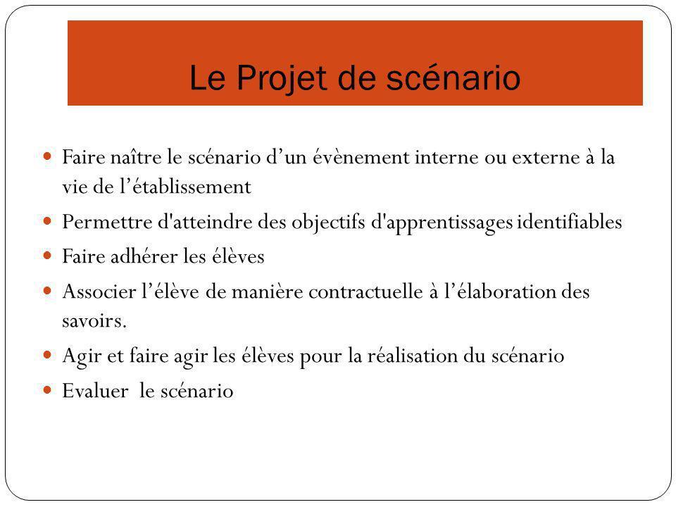 Le Projet de scénario Faire naître le scénario d'un évènement interne ou externe à la vie de l'établissement.