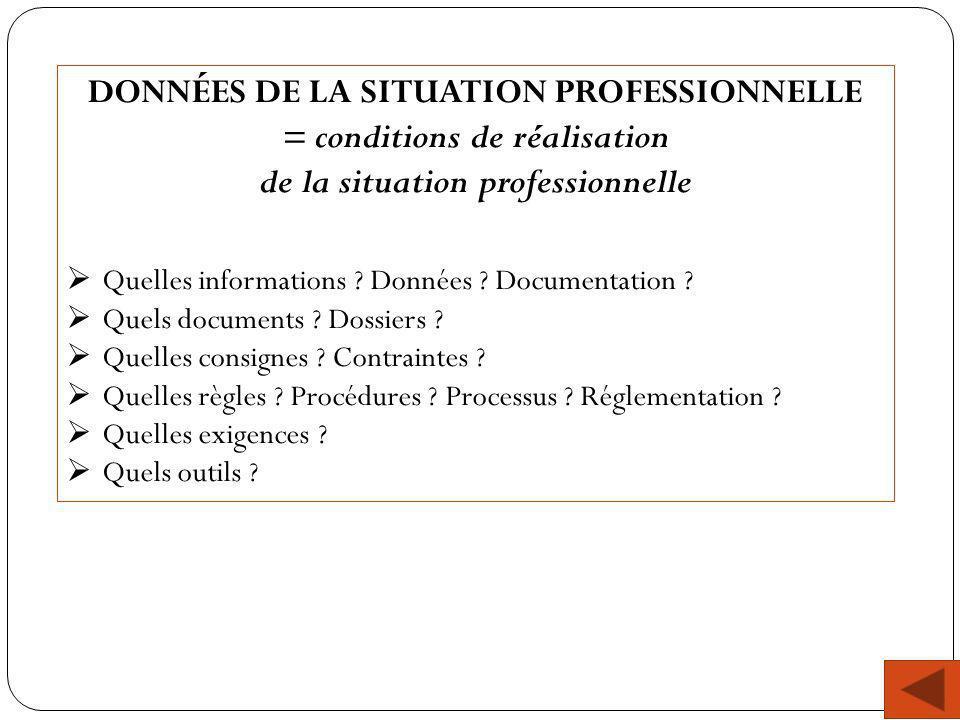DONNÉES DE LA SITUATION PROFESSIONNELLE = conditions de réalisation
