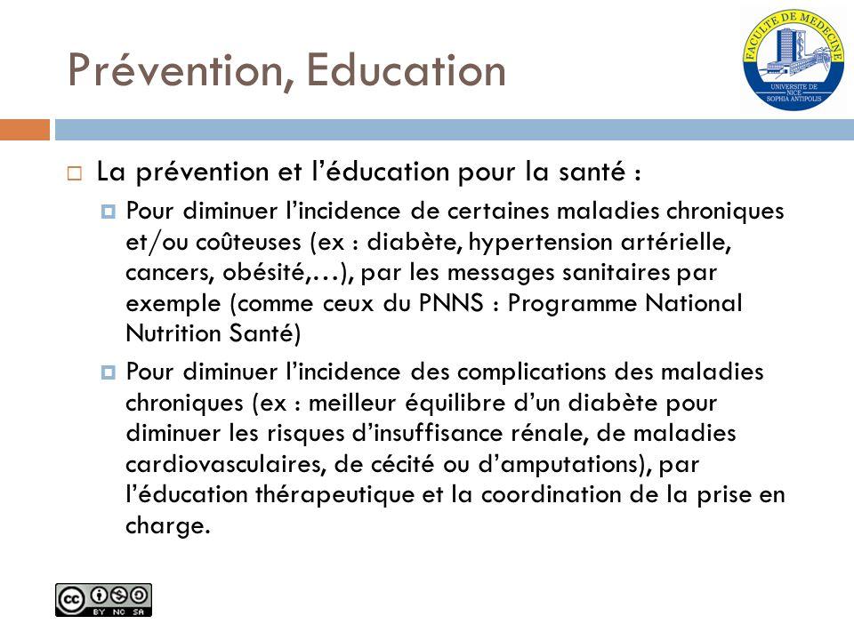 Prévention, Education La prévention et l'éducation pour la santé :