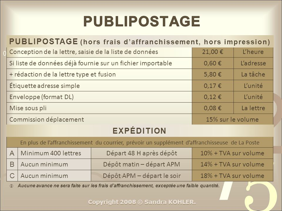 PUBLIPOSTAGE PUBLIPOSTAGE (hors frais d'affranchissement, hors impression) Conception de la lettre, saisie de la liste de données.