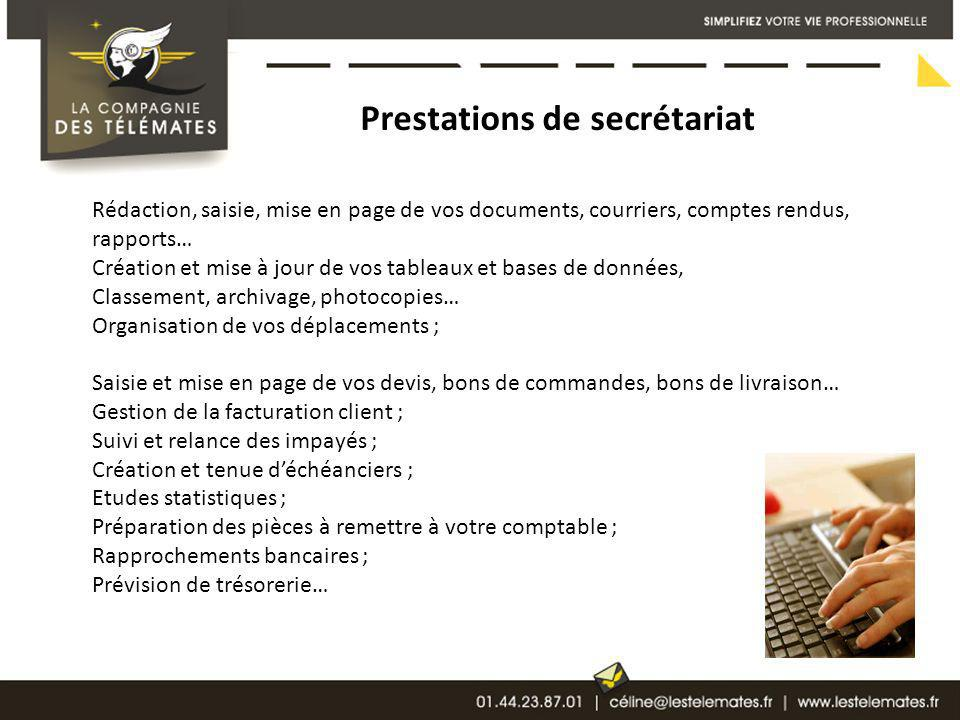 Prestations de secrétariat