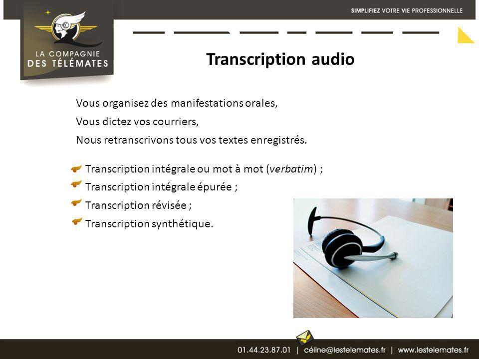 Transcription audio Vous organisez des manifestations orales,