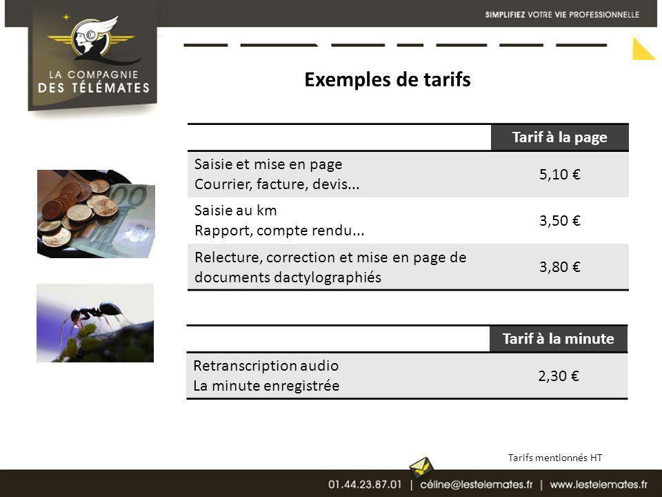 Exemples de tarifs Tarif à la page 5,10 € Saisie et mise en page