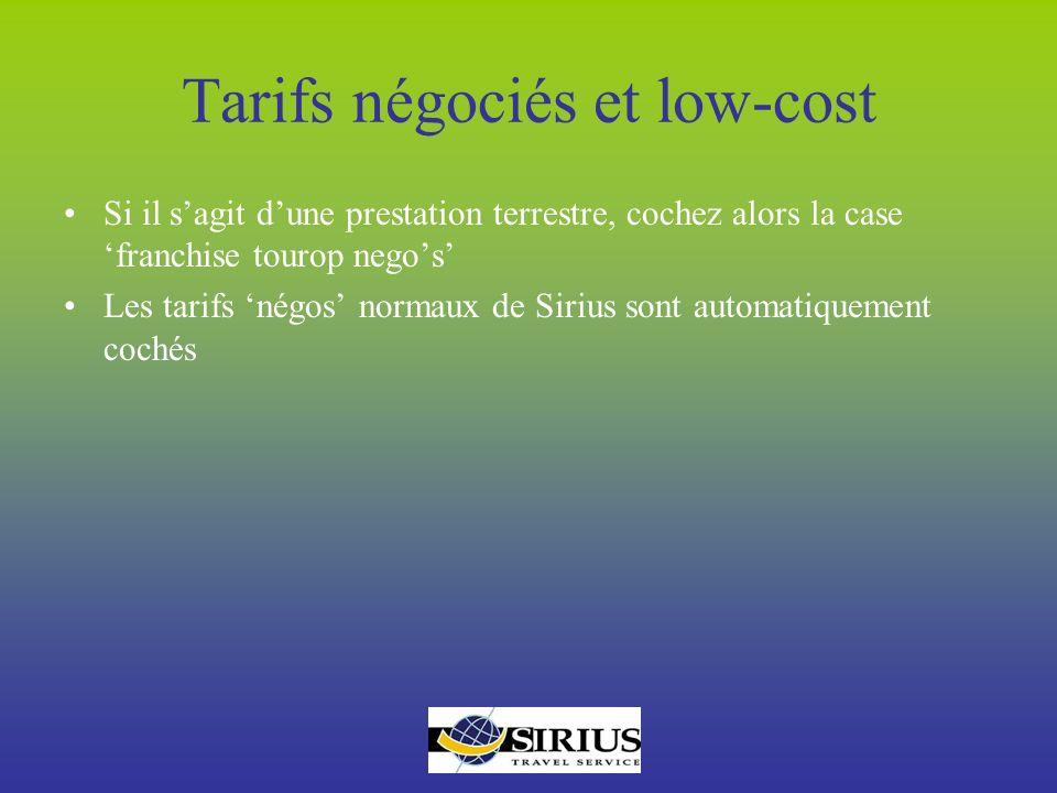 Tarifs négociés et low-cost
