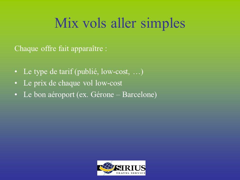 Mix vols aller simples Chaque offre fait apparaître :