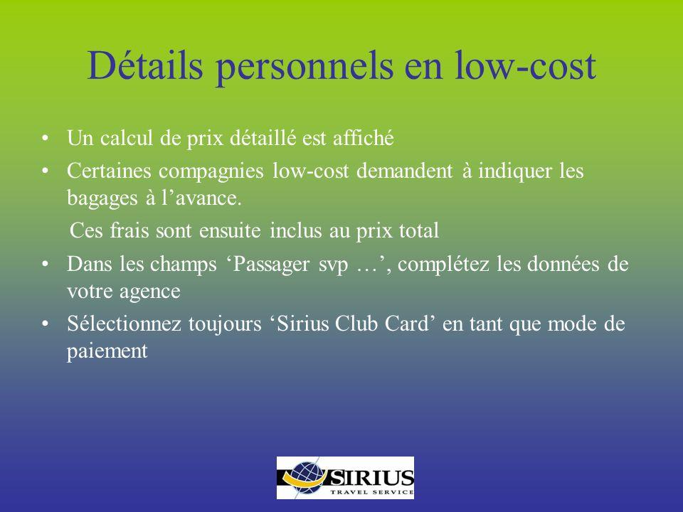 Détails personnels en low-cost