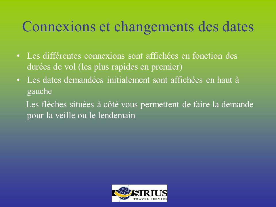 Connexions et changements des dates