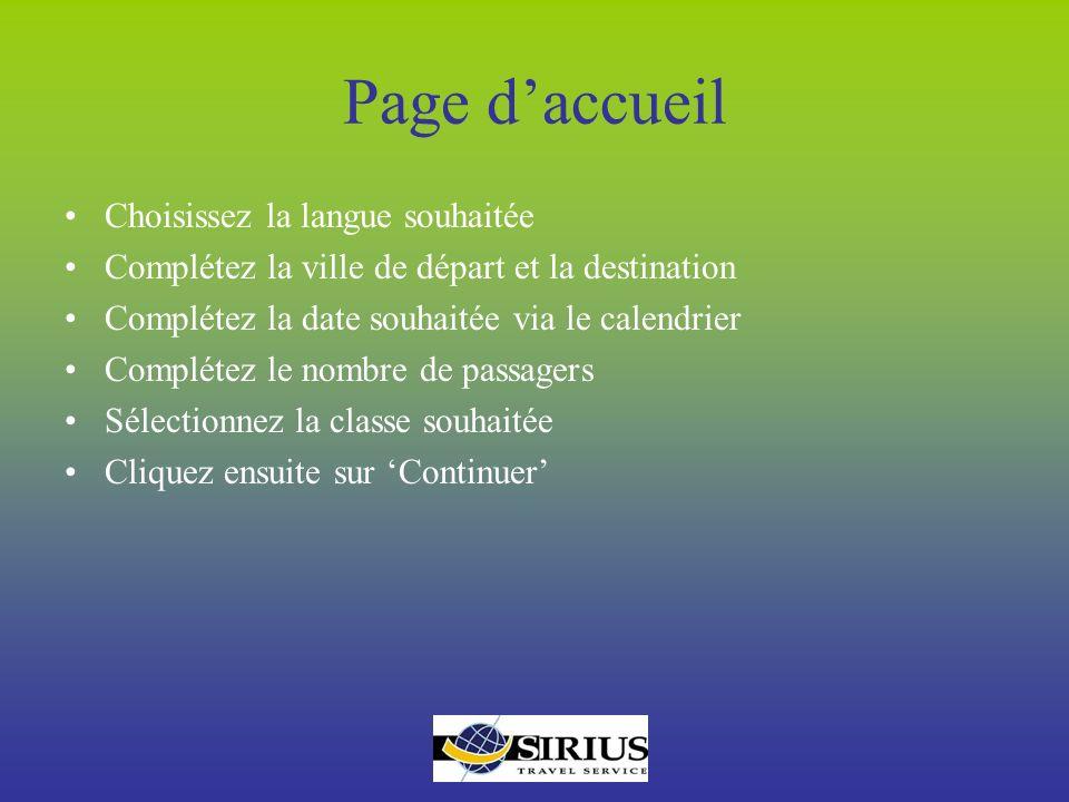 Page d'accueil Choisissez la langue souhaitée