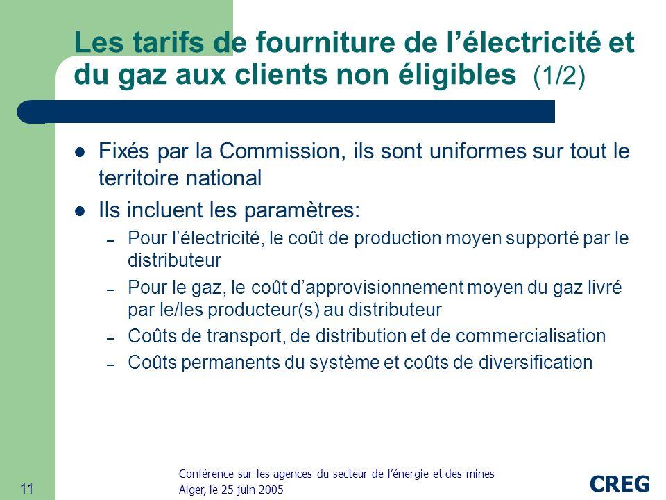 Les tarifs de fourniture de l'électricité et du gaz aux clients non éligibles (1/2)