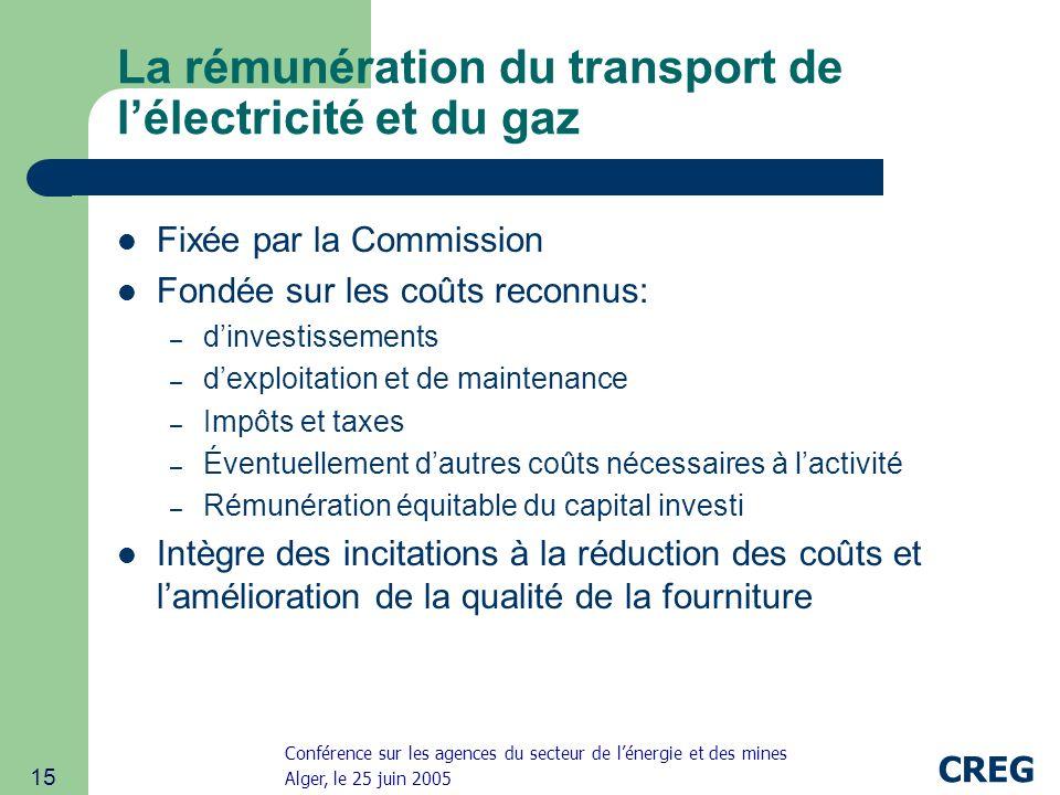 La rémunération du transport de l'électricité et du gaz