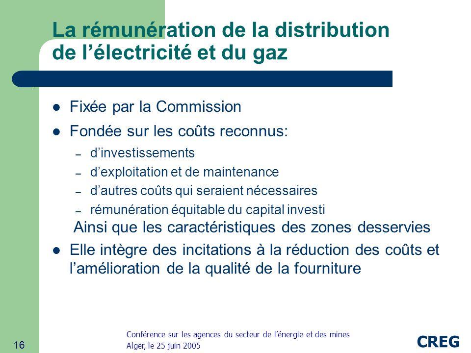 La rémunération de la distribution de l'électricité et du gaz