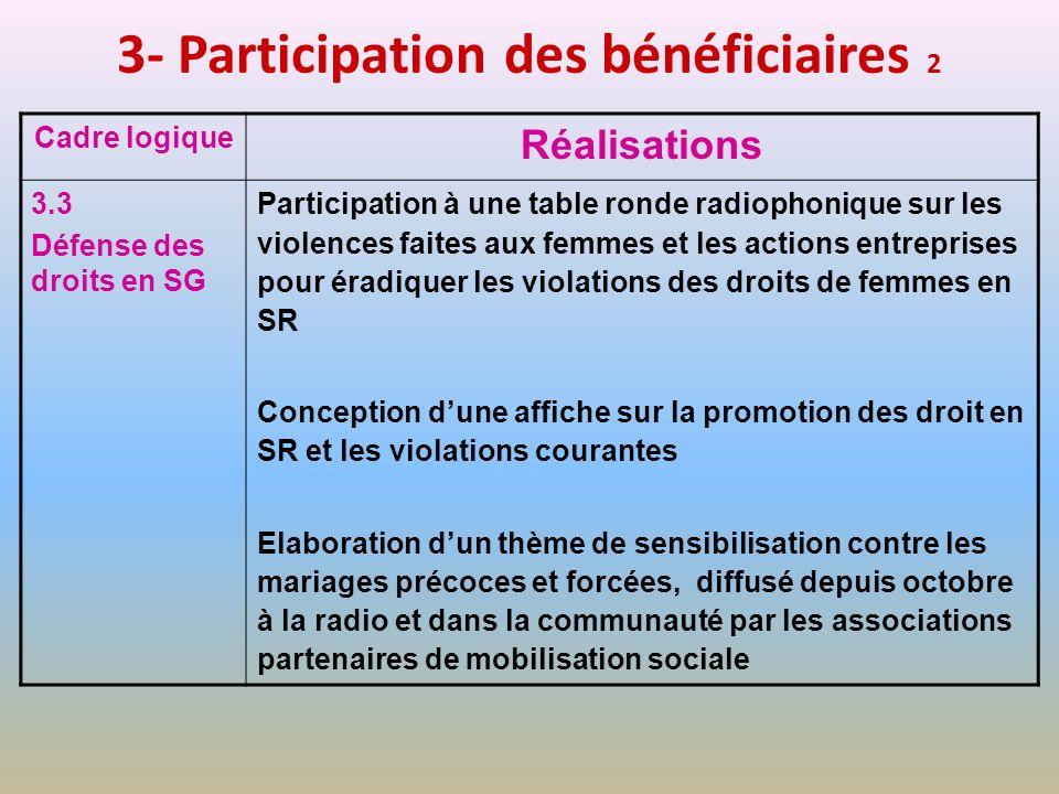 3- Participation des bénéficiaires 2