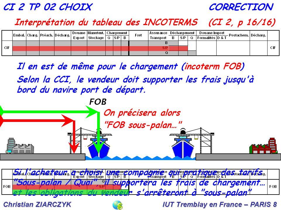 CI 2 TP 02 CHOIX CORRECTION. Interprétation du tableau des INCOTERMS (CI 2, p 16/16) Il en est de même pour le chargement (incoterm FOB)