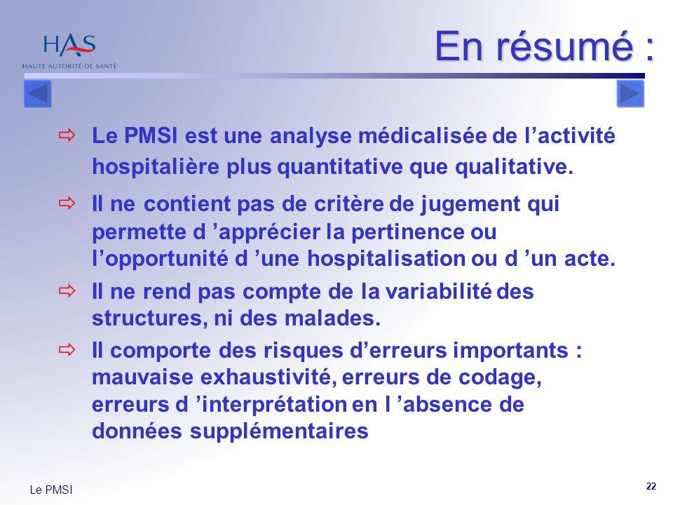 En résumé : Le PMSI est une analyse médicalisée de l'activité hospitalière plus quantitative que qualitative.
