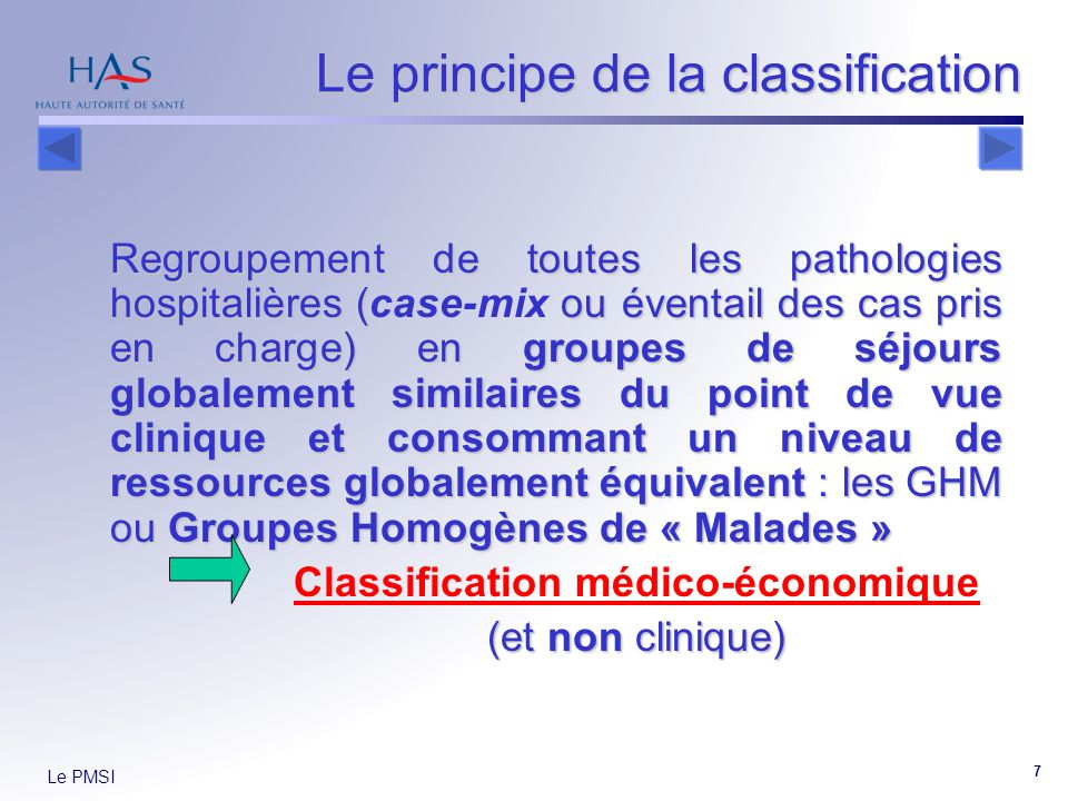 Le principe de la classification