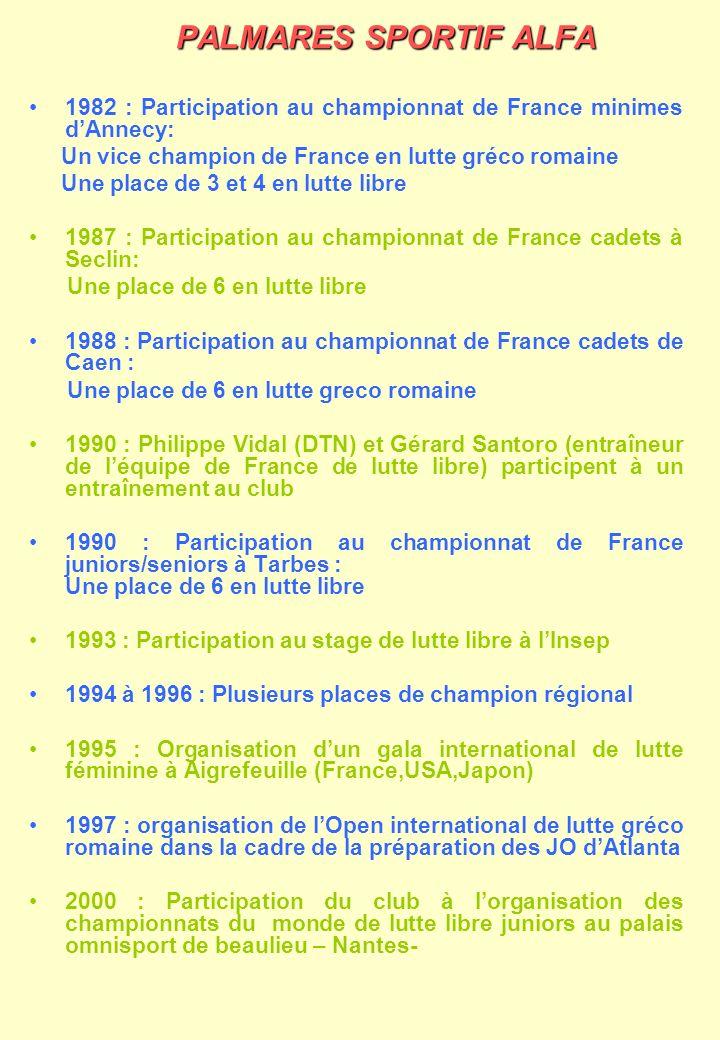 PALMARES SPORTIF ALFA 1982 : Participation au championnat de France minimes d'Annecy: Un vice champion de France en lutte gréco romaine.