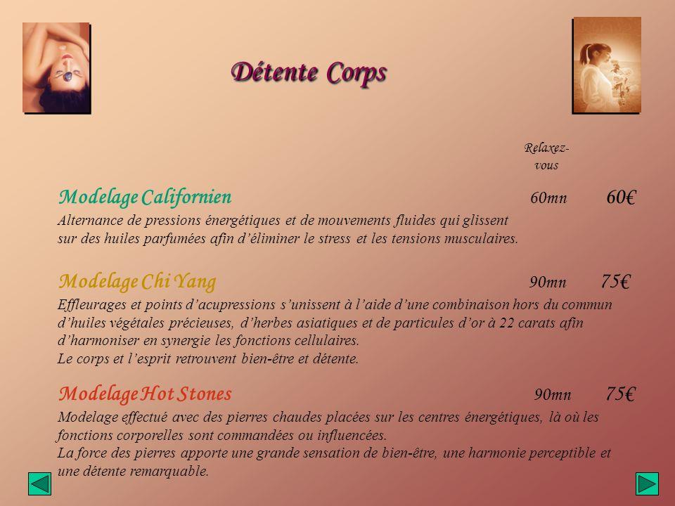 Détente Corps Modelage Californien 60mn 60€ Modelage Chi Yang 90mn 75€