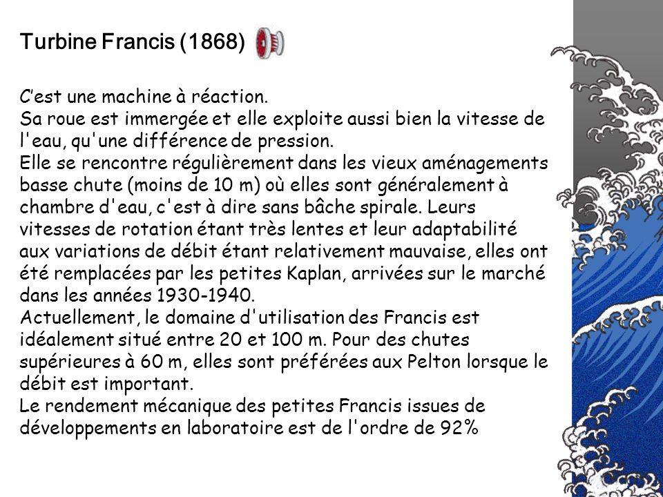 Turbine Francis (1868) C'est une machine à réaction.