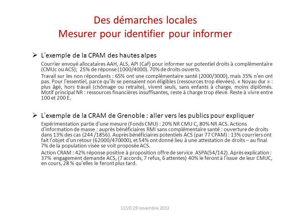 Des démarches locales Mesurer pour identifier pour informer