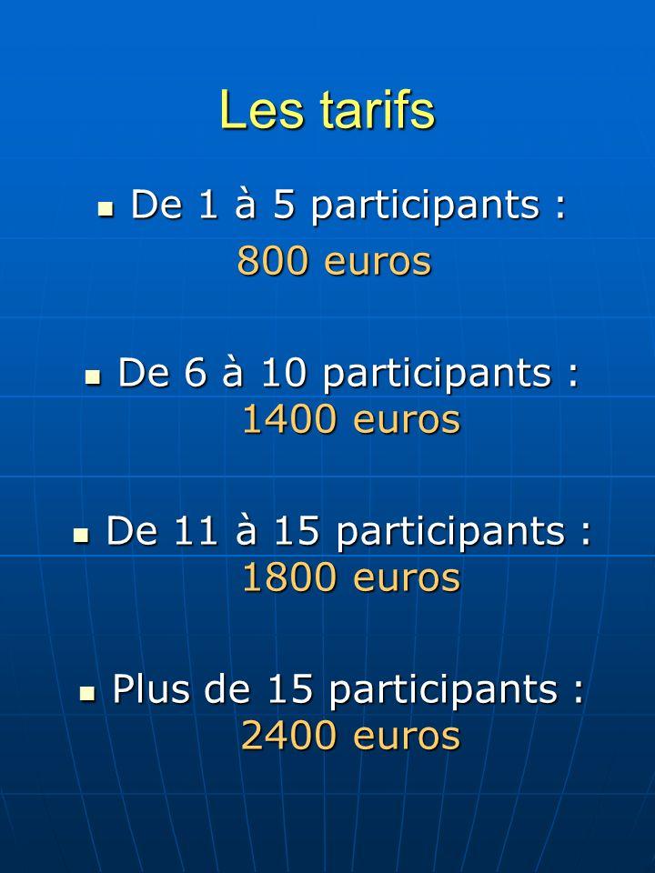 Les tarifs De 1 à 5 participants : 800 euros