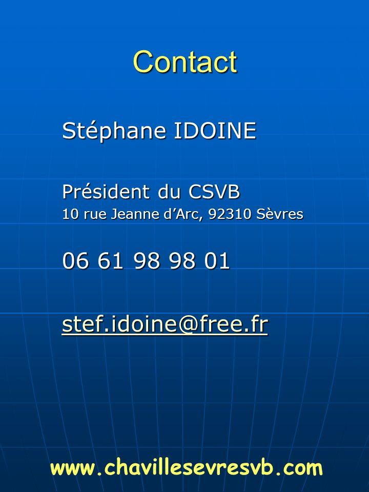 Contact Stéphane IDOINE 06 61 98 98 01 stef.idoine@free.fr