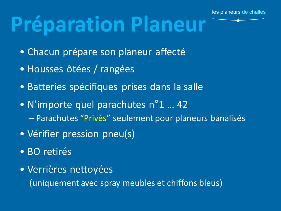 Préparation Planeur • Chacun prépare son planeur affecté