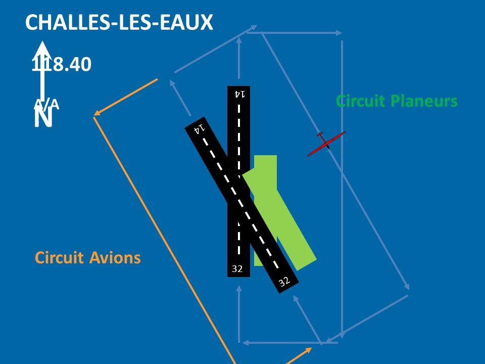 N CHALLES-LES-EAUX 118.40 Circuit Planeurs Circuit Avions A/A 32 14 32
