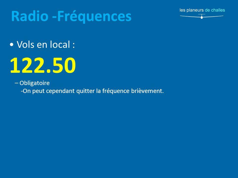 122.50 Radio -Fréquences • Vols en local : – Obligatoire