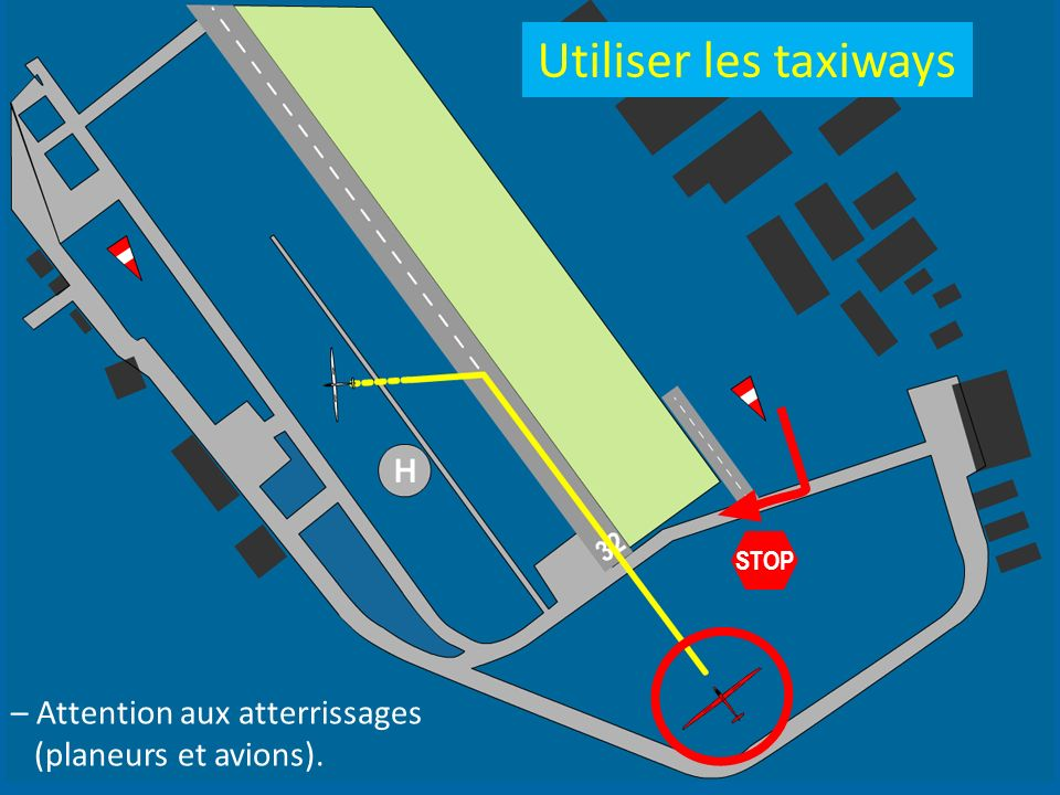 Utiliser les taxiways – Attention aux atterrissages