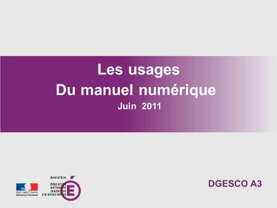 Les usages Du manuel numérique
