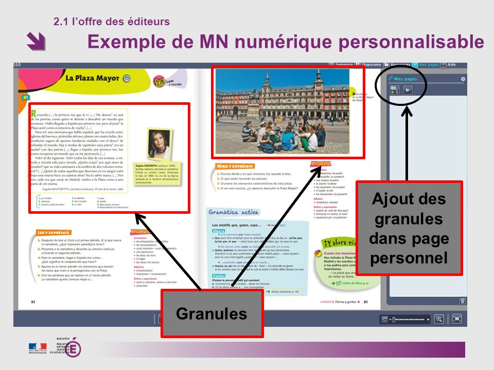 2.1 l'offre des éditeurs Exemple de MN numérique personnalisable