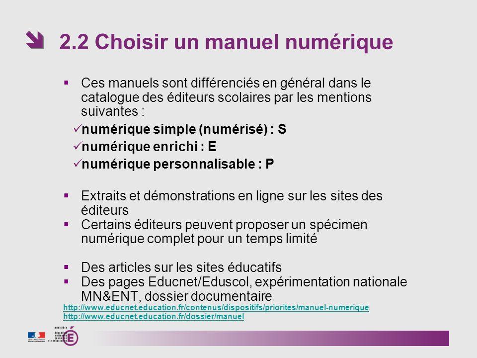 2.2 Choisir un manuel numérique
