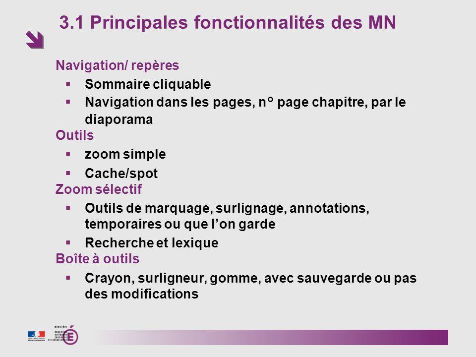 3.1 Principales fonctionnalités des MN