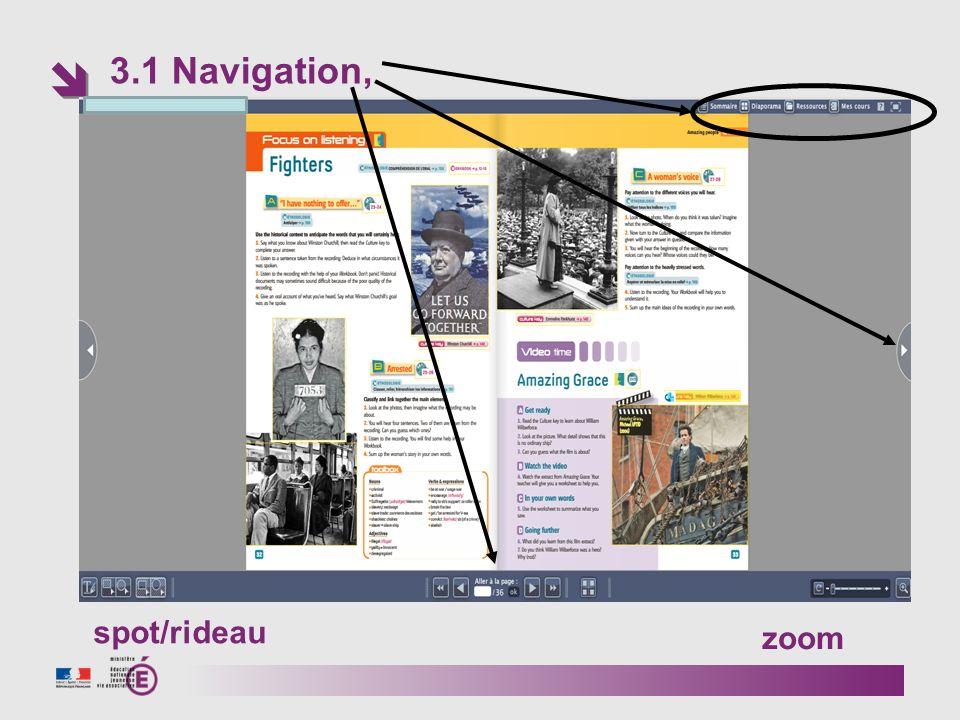 3.1 Navigation, spot/rideau zoom