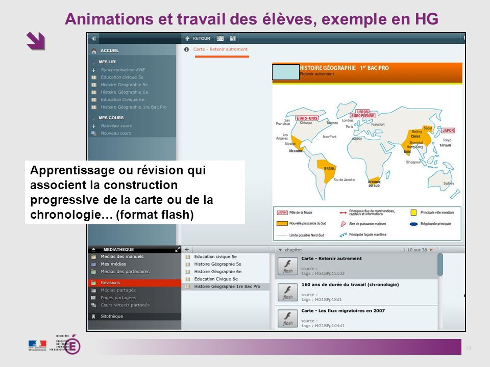 Animations et travail des élèves, exemple en HG