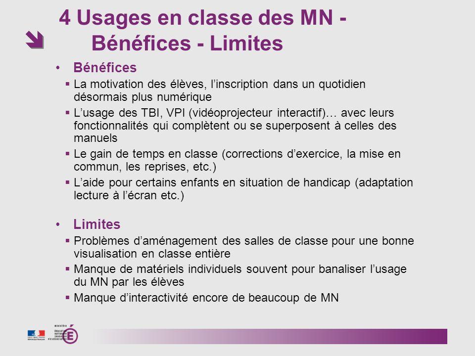 4 Usages en classe des MN - Bénéfices - Limites