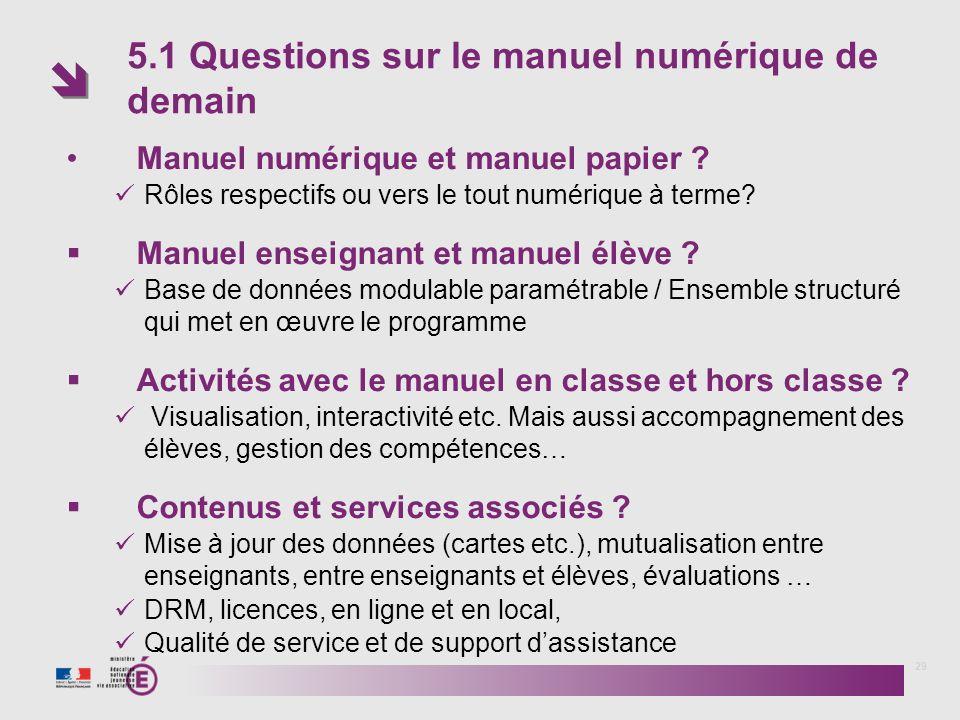 5.1 Questions sur le manuel numérique de demain