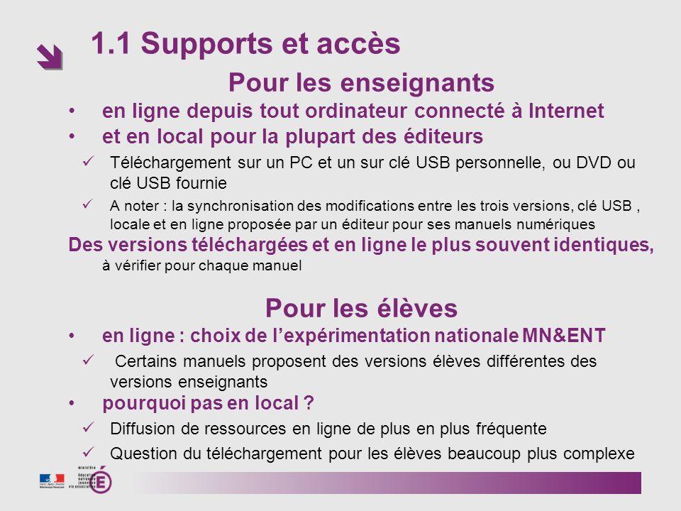 1.1 Supports et accès Pour les enseignants Pour les élèves