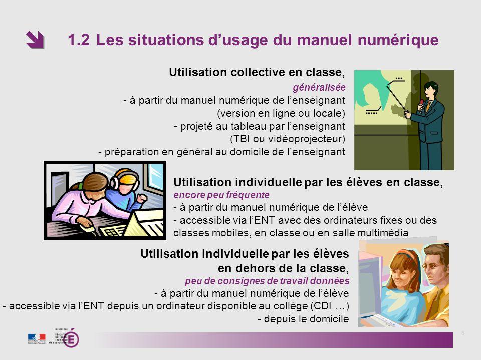 1.2 Les situations d'usage du manuel numérique