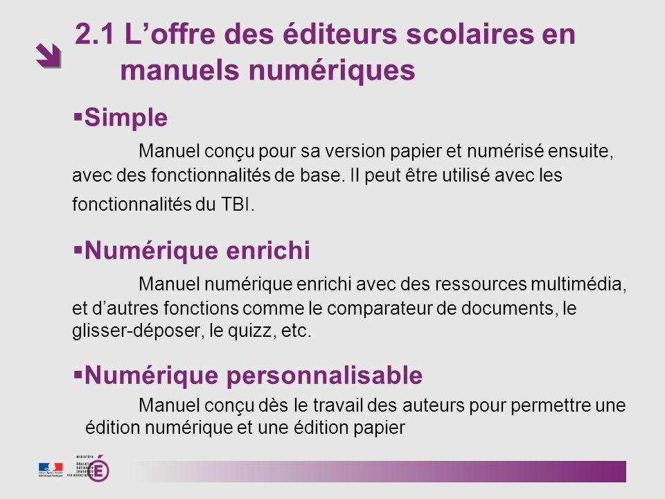 2.1 L'offre des éditeurs scolaires en manuels numériques