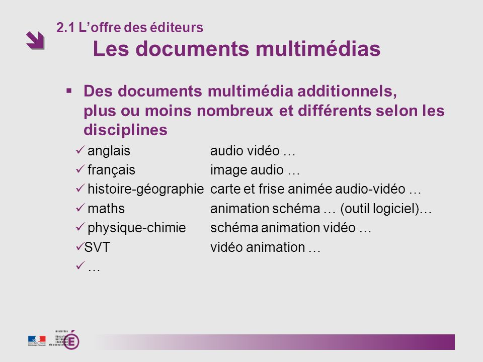 Des documents multimédia additionnels,