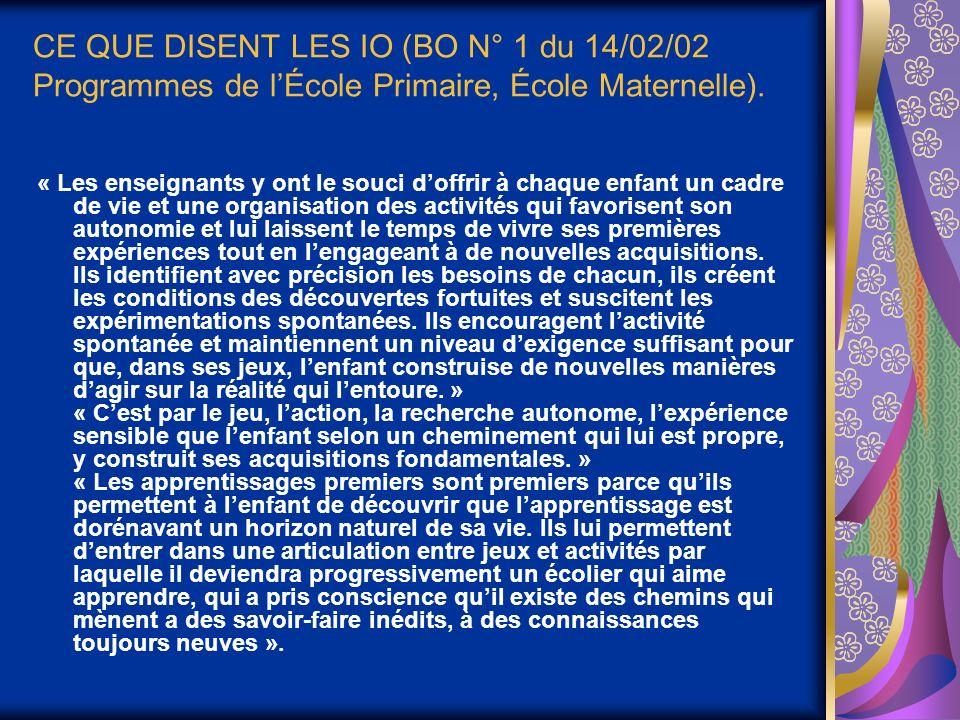 CE QUE DISENT LES IO (BO N° 1 du 14/02/02 Programmes de l'École Primaire, École Maternelle).