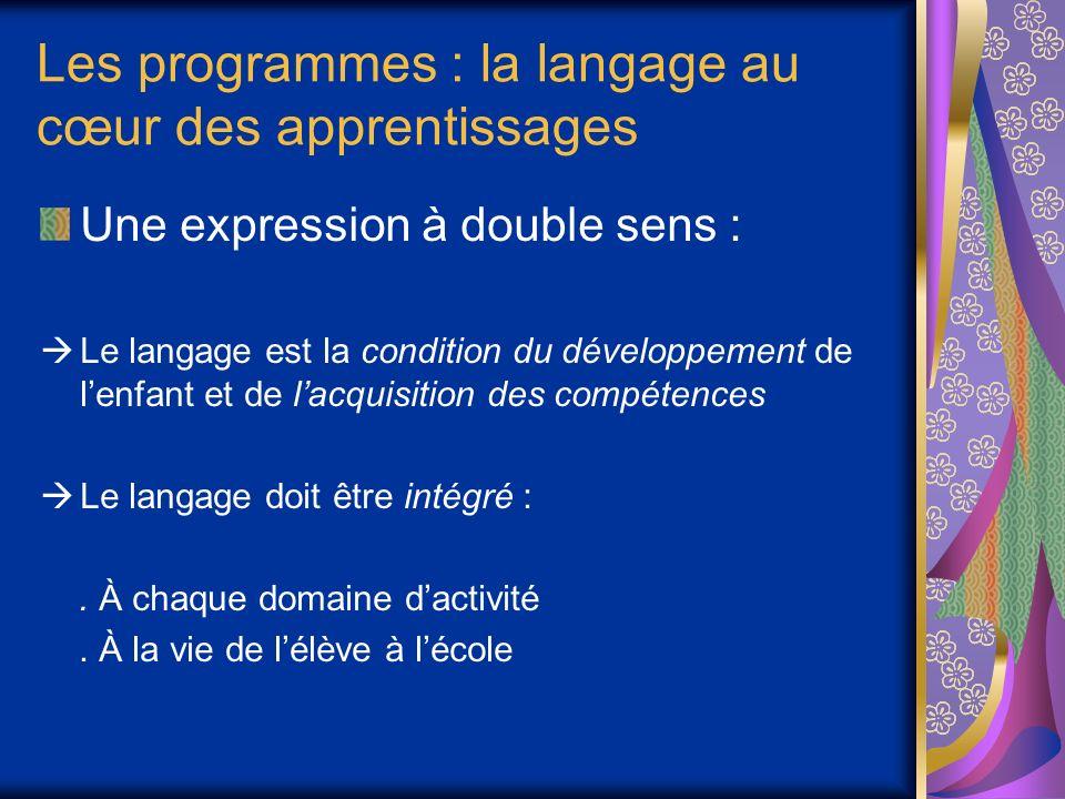 Les programmes : la langage au cœur des apprentissages