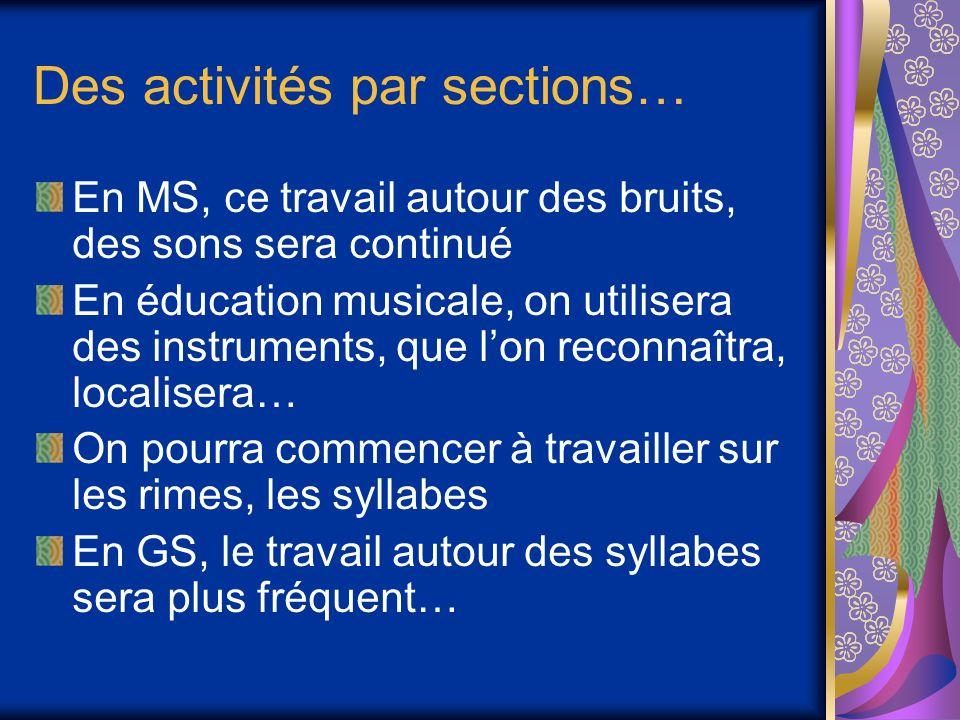 Des activités par sections…