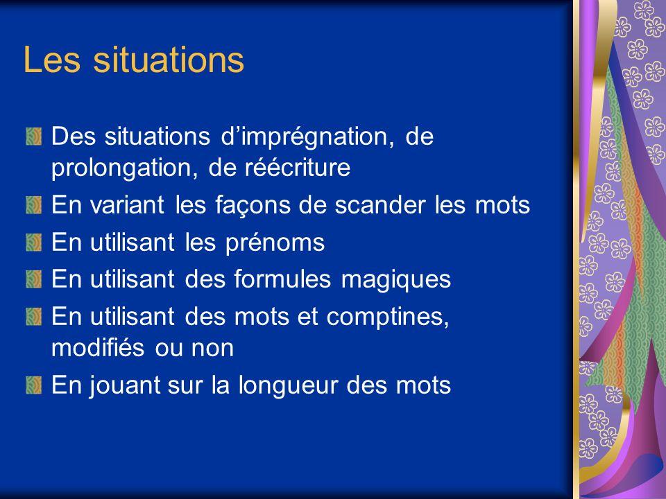 Les situations Des situations d'imprégnation, de prolongation, de réécriture. En variant les façons de scander les mots.