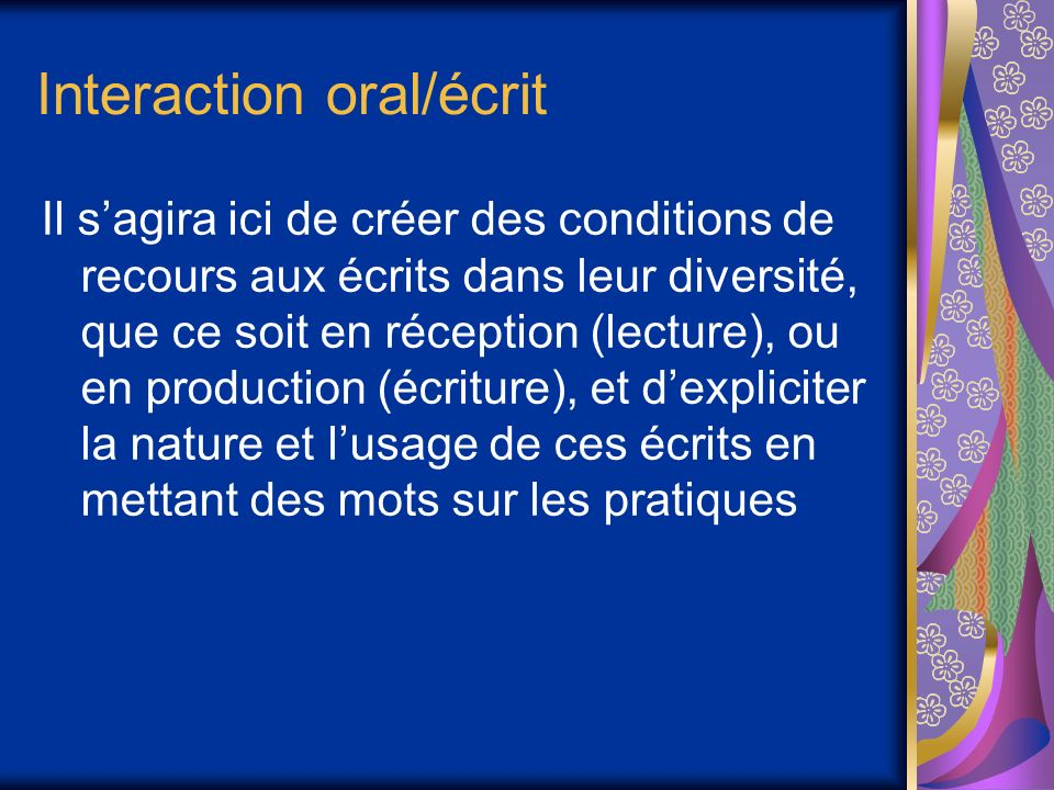 Interaction oral/écrit